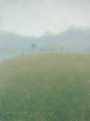 Foggy landscape with hill