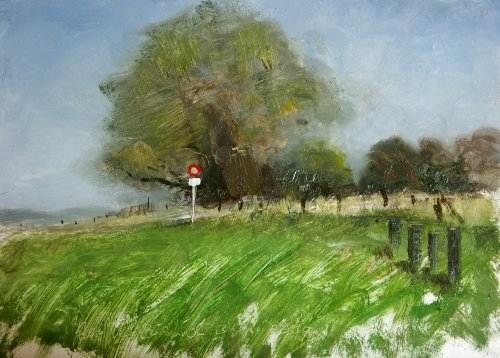 Landscape with traffic sign