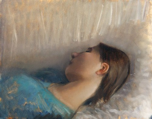 Portrait study sleeping girl