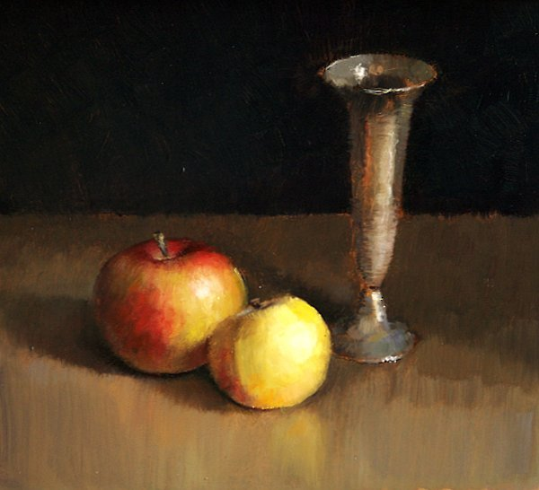 Still life with two apples and vase