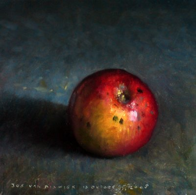 Still life with apple, red