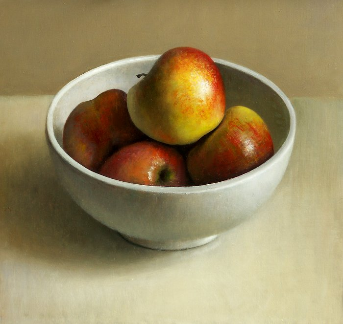 Still life bowl of apples, Jul 3, 2009, 45x44cm - Artist Jos van Riswick