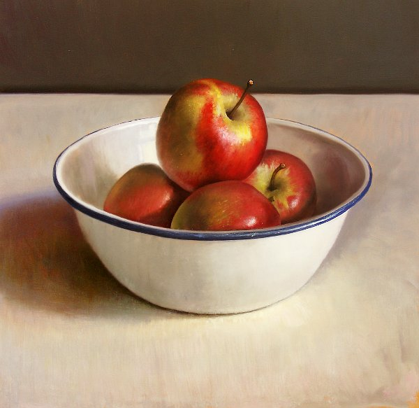 Still life with apples in enamel bowl