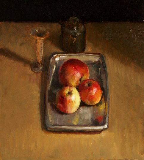 Still life with apples and vase