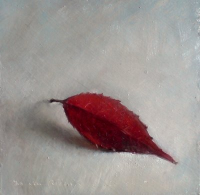 Still life with autumn leaf, red