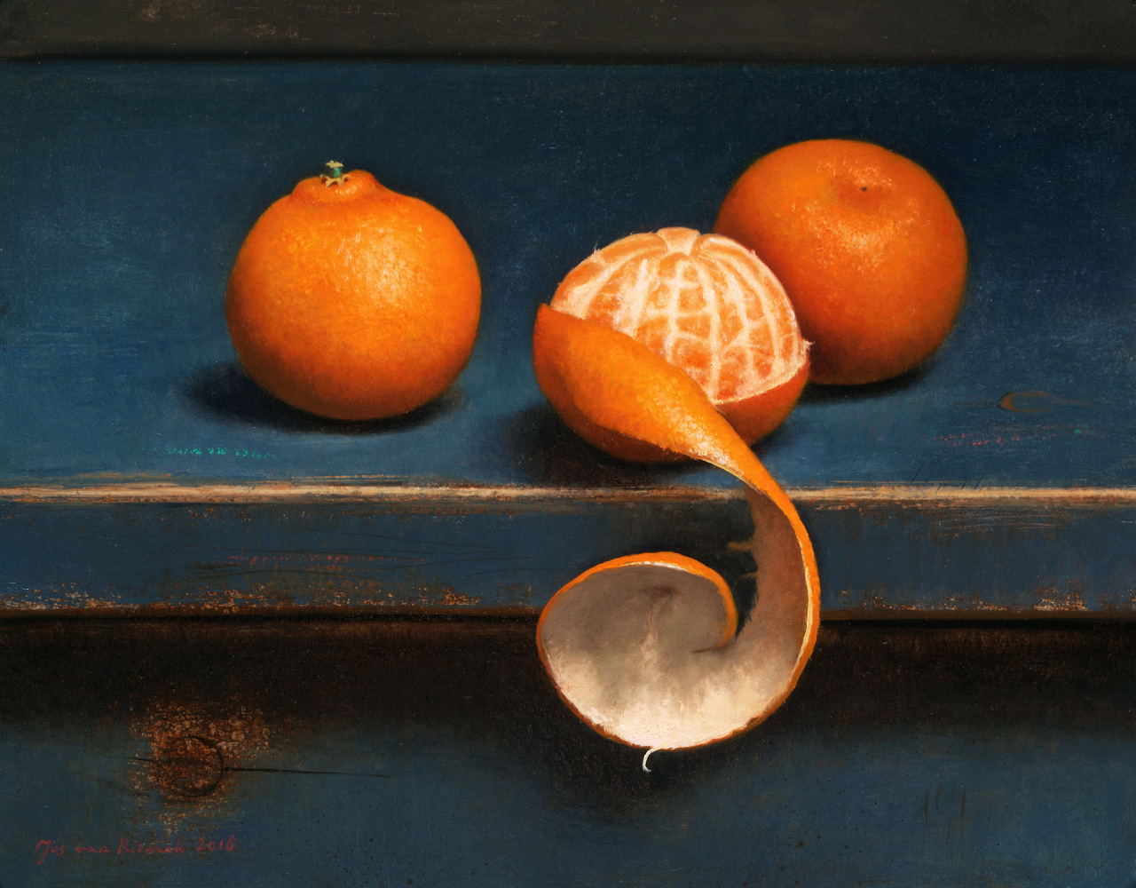 Still life with three clementines