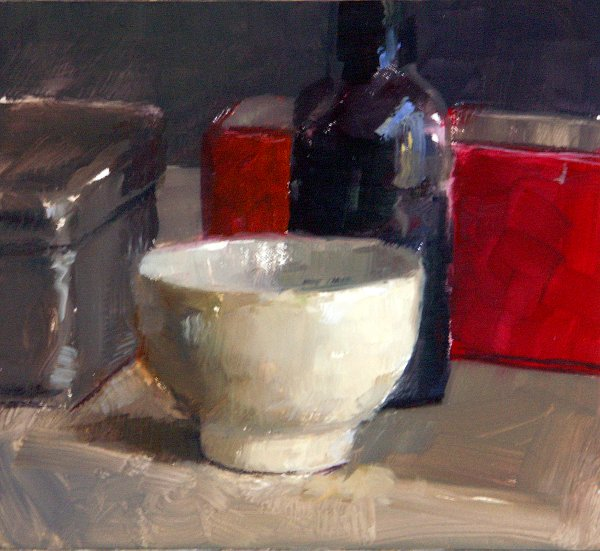 Still life with cup and red box