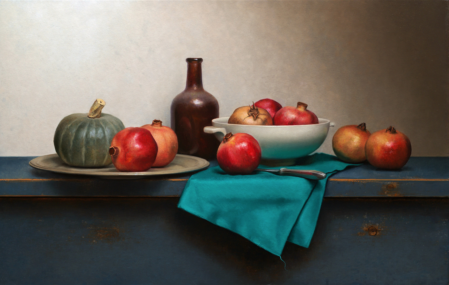 Still life with green napkin
