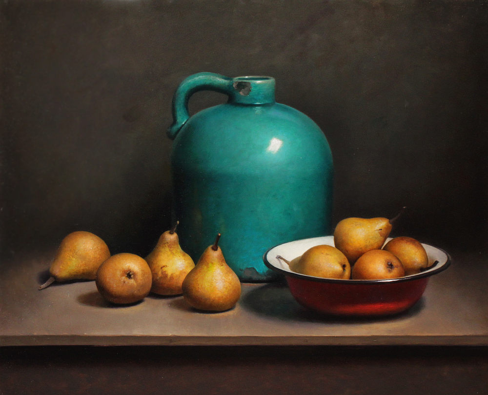 Still Life with Pears and Green Bottle
