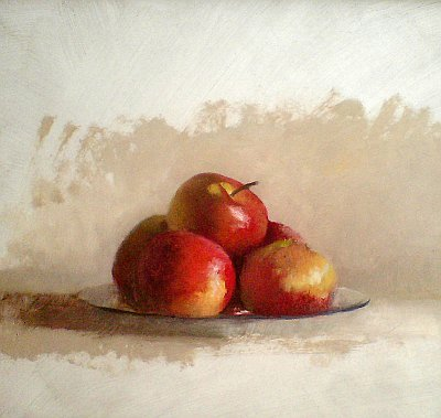 Still life plate of apples (work in progress)