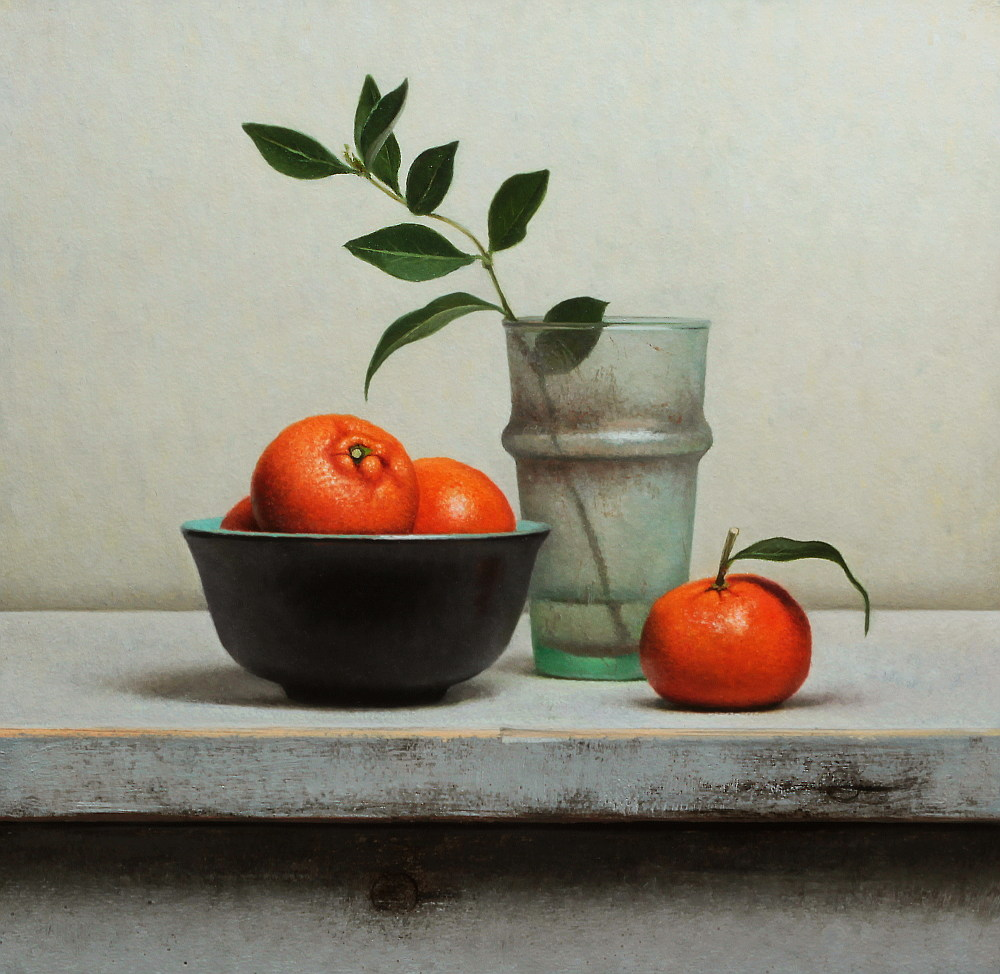 Dutch Still life with tangerines and antique glass