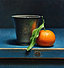 Still life with pewter cup and tangerine