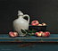 Traditional Dutch Still life with wild peaches