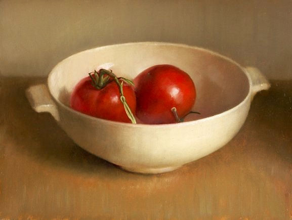 Still life with tomatoes in bowl