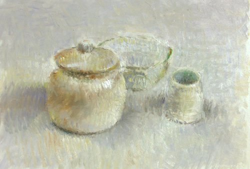 Still life with white objects, 18x12 cm, oil on masonite.: postcardfromholland.blogspot.com/2007_09_01_archive.html